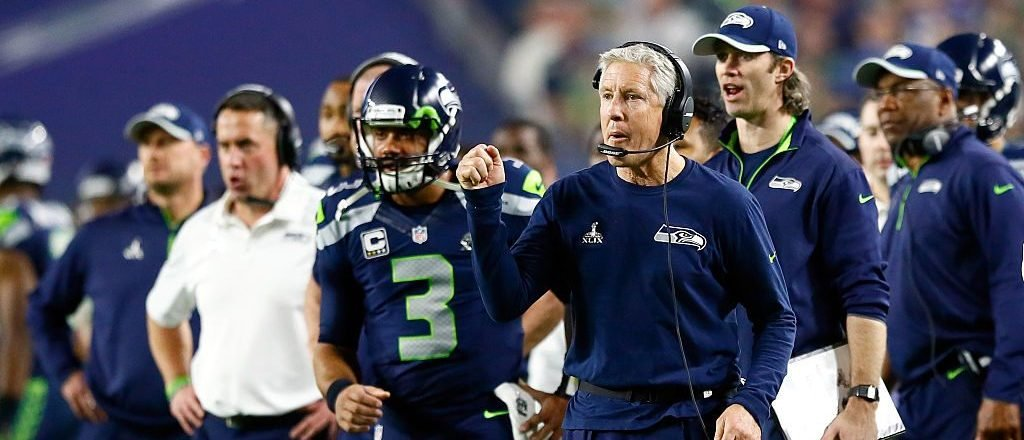 Head coach Pete Carroll of the Seattle Seahawks reacts on the sideline in the third quarter against New England Patriots during Super Bowl XLIX at University of Phoenix Stadium on February 1, 2015 in Glendale, Arizona