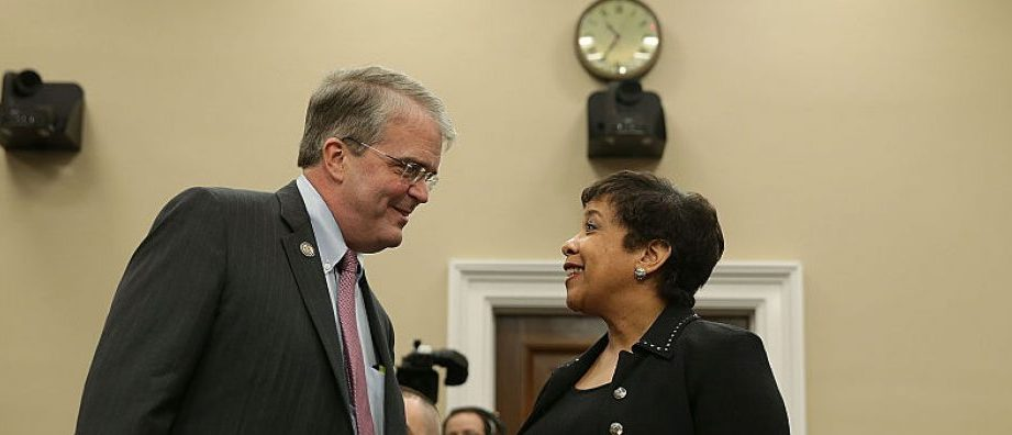 : U.S. Attorney General Loretta Lynch (R) is greeted by chairman John Culberson (R-TX) (L) prior to a hearing before the Commerce, Justice, Science, and Related Agencies Subcommittee of the House Appropriations Committee February 24, 2016 on Capitol Hill in Washington, DC. The subcommittee held a hearing to examine the Department of Justice budget. (Photo by Alex Wong/Getty Images)