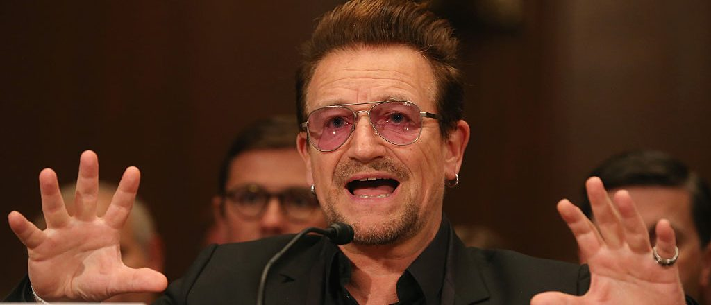 Bono, lead singer of the rock band U2 and co-founder of ONE, a non-profit, non-partisan advocacy organization, testifies during a Senate Appropriations Subcommittee hearing on Capitol Hill, April 12, 2016 in Washington, D.C. (Photo by Mark Wilson/Getty Images)