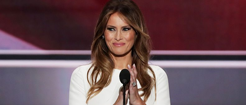Melania Trump, wife of Republican presidential nominee Donald Trump, delivers a speech on the first day of the Republican National Convention on July 18, 2016 at the Quicken Loans Arena in Cleveland, Ohio. (Photo by Alex Wong/Getty Images)