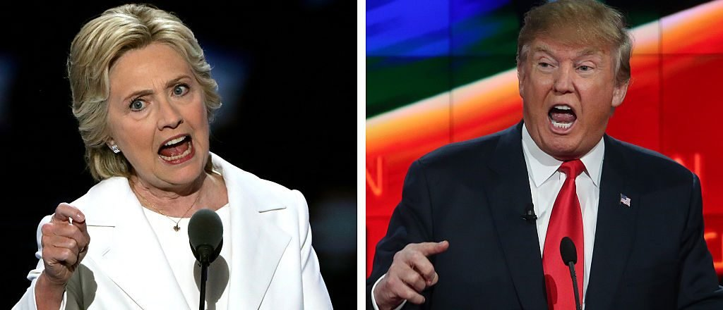 (FILE PHOTO) In this composite image a comparison has been made between former US Presidential Candidates Hillary Clinton (L) and Donald Trump. ***LEFT IMAGE*** PHILADELPHIA, PA - JULY 28: Democratic presidential candidate Hillary Clinton delivers remarks during the fourth day of the Democratic National Convention at the Wells Fargo Center, July 28, 2016 in Philadelphia, Pennsylvania. Democratic presidential candidate Hillary Clinton received the number of votes needed to secure the party's nomination. An estimated 50,000 people are expected in Philadelphia, including hundreds of protesters and members of the media. The four-day Democratic National Convention kicked off July 25. (Photo by Alex Wong/Getty Images) ***RIGHT IMAGE*** LAS VEGAS, NV - DECEMBER 15: Republican presidential candidate Donald Trump during the CNN Republican presidential debate on December 15, 2015 in Las Vegas, Nevada. This is the last GOP debate of the year, with U.S. Sen. Ted Cruz (R-TX) gaining in the polls in Iowa and other early voting states and Donald Trump rising in national polls. (Photo by Justin Sullivan/Getty Images)