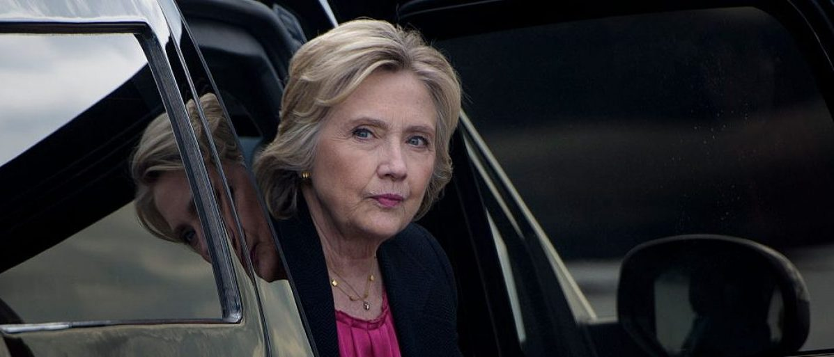 Hillary Clinton arrives to board her plane at Tampa International Airport on September 6, 2016 (Getty Images)