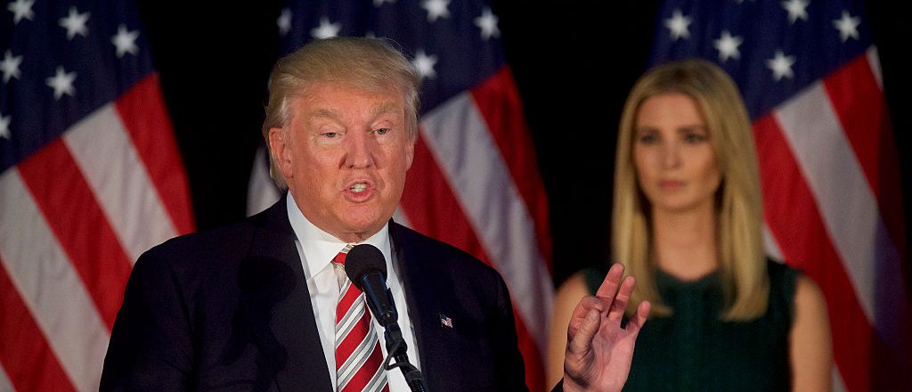 Donald Trump holds a campaign event with his daughter, Ivanka, at the Aston Township Community Center on September 13, 2016 (Getty Images)