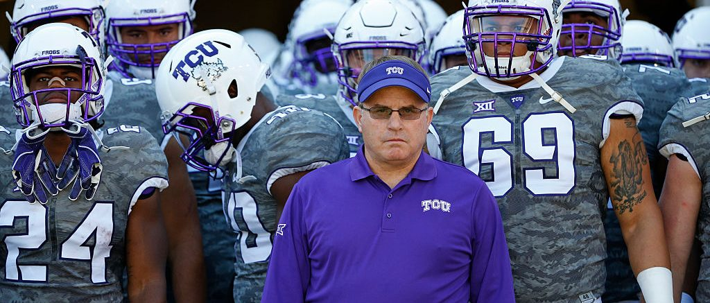 FORT WORTH, TX - SEPTEMBER 17: Head coach Gary Patterson of the TCU Horned Frogs waits with his team before taking on the Iowa State Cyclones at Amon G. Carter Stadium on September 17, 2016 in Fort Worth, Texas. TCU won 41-20. (Photo by Ron Jenkins/Getty Images)