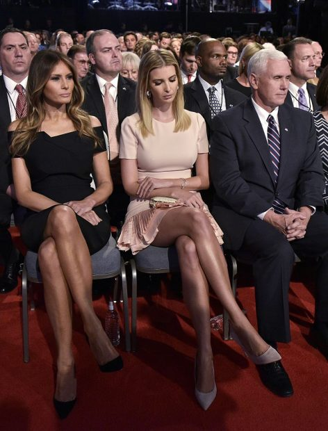 Melania Trump, Ivanka Trump, and Republican vice presidential nominee Mike Pence are seen in the audience of the first presidential debate at Hofstra University in Hempstead, New York on September 26, 2016
