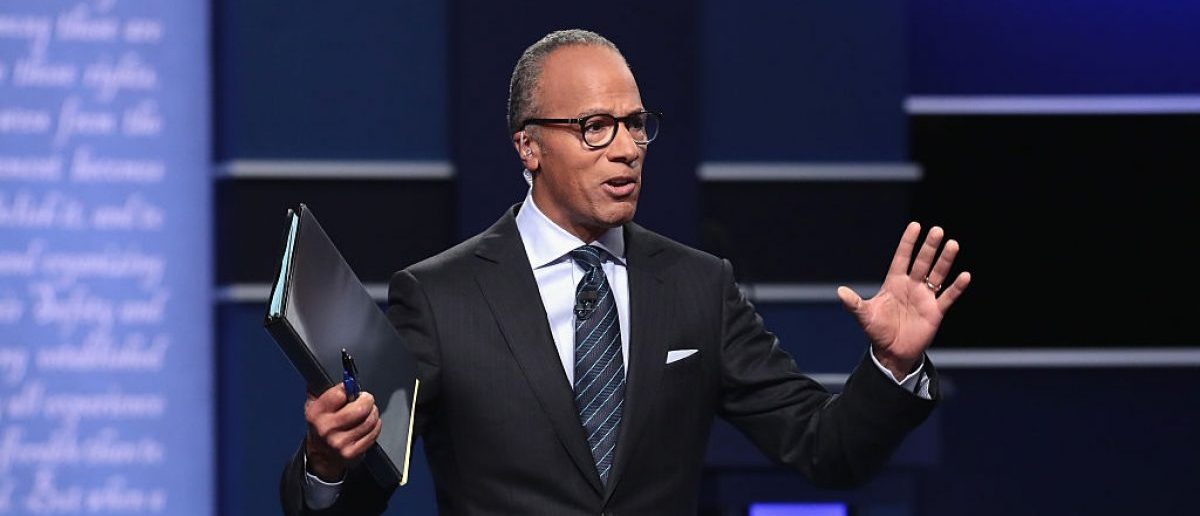 HEMPSTEAD, NY - SEPTEMBER 26: Moderator Lester Holt speaks ahead of the Presidential Debate at Hofstra University on September 26, 2016 in Hempstead, New York. (Photo by Drew Angerer/Getty Images)