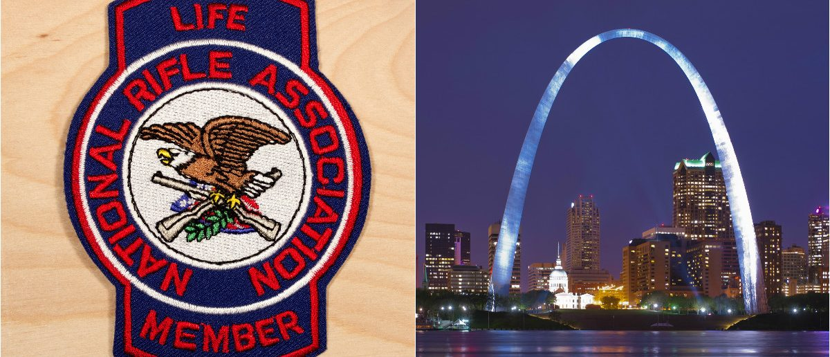 NRA Badge: Digitalreflections/shutterstock.com, St Louis Arch: Kent Weakley/shutterstock.com
