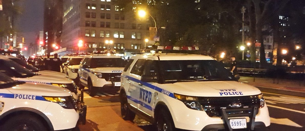 Several NYPD cars near Chelsea blast site