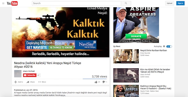 Screenshot of Trump ad running alongside the Turkish translation of the nasheed Nahadna Nahadna, taken by GIPEC researchers in New York, NY. (Screenshot/YouTube/GIPEC)