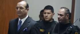 Peru's former spy chief Montesinos arrives to testify at trial of former Peruvian President Fujimori in Lima