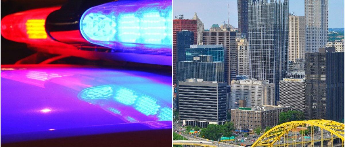 Police lights: Schmidt_Alex/shutterstock.com, Pittsburgh: Sahani Photography/shutterstock.com