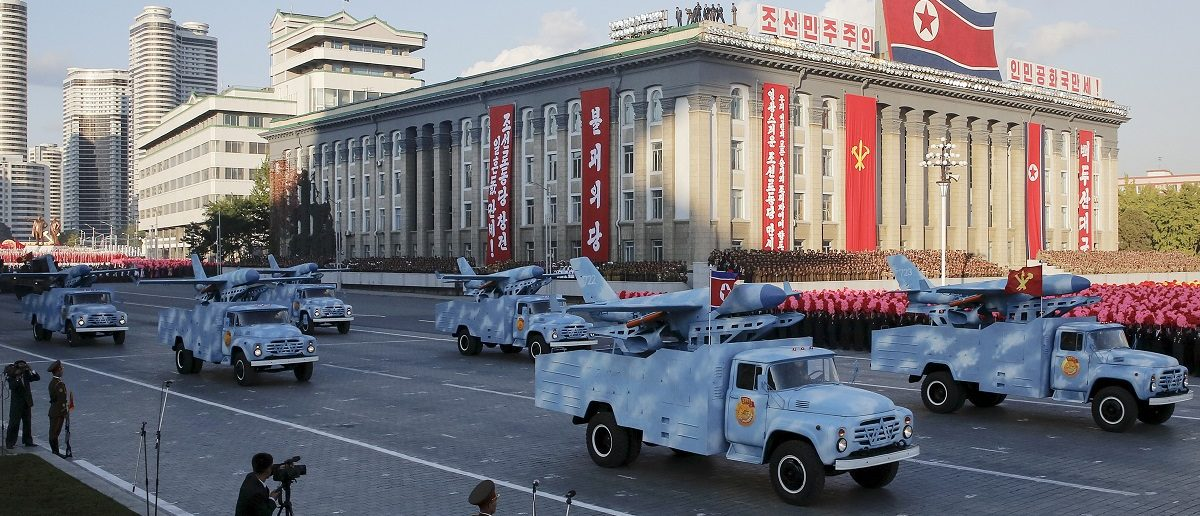 Trucks carry drones under a stand with North Korean leader Kim Jong Un and other officials during the parade celebrating the 70th anniversary of the founding of the ruling Workers' Party of Korea, in Pyongyang October 10, 2015. Isolated North Korea marked the 70th anniversary of its ruling Workers' Party on Saturday with a massive military parade overseen by leader Kim Jong Un, who said his country was ready to fight any war waged by the United States.   REUTERS/James Pearson