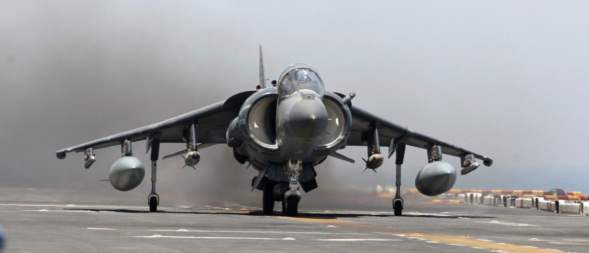 A AV-8B Harrier II from the 13th Marine Expeditionary Unit launches from the USS Boxer (LHD 4) during its first day of striking ISIS held positions in Iraq from the Arabia Gulf, June 16, 2016. REUTERS/Hamad I Mohammed