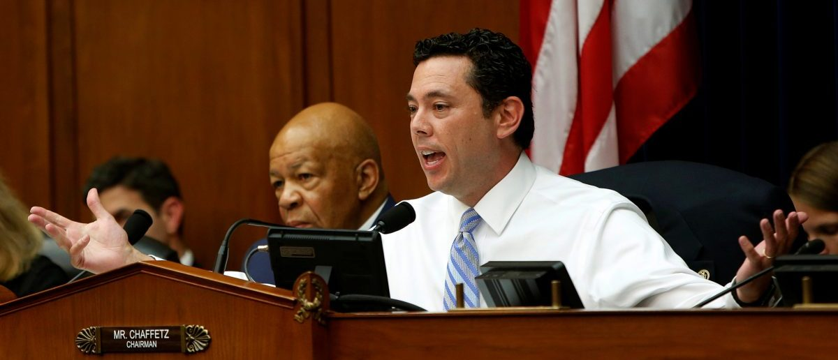 The Chairman of the House Oversight and Government Reform Committee Jason Chaffetz (R-CA) (R) during questioning. Washington U.S. July 7, 2016. REUTERS/Gary Cameron