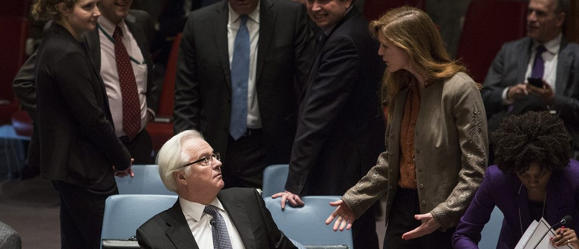 American ambassador Power talks to Russia's ambassador Churkin before a vote regarding the Ukrainian crisis is taken at the U.N. Security Council in New York