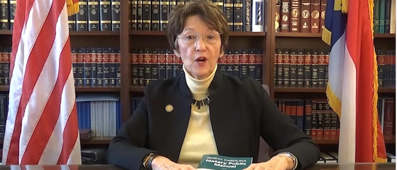 Elaine Marshall (youtube screenshot/North Carolina Department of the Secretary of State)