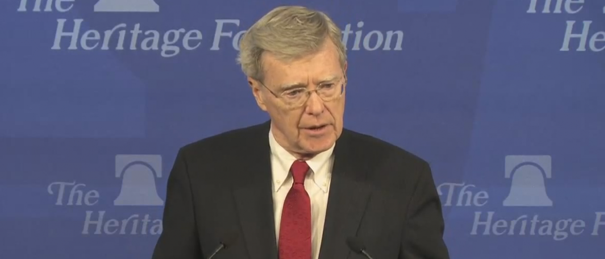 Judge Diarmuid O'Scannlain gives the Joseph Story Distinguished Lecture at the Heritage Foundation in 2013. YouTube screengrab: https://www.youtube.com/watch?v=dE3foN9KHx8