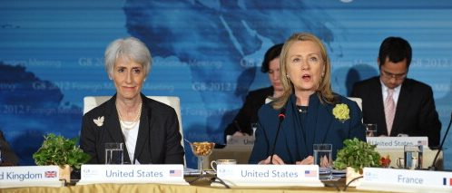 US Secretary of State Hillary Clinton speaks during a session of the G8 Foreign Ministers meeting April 11, 2012 at Blair House in Washington, DC. At left is Under Secretary of Political Affairs Wendy Sherman. AFP PHOTO/Mandel NGAN (Photo credit should read MANDEL NGAN/AFP/Getty Images)