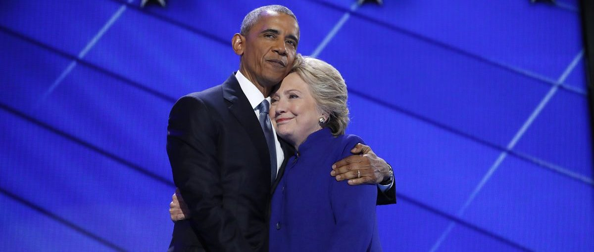 Democratic presidential nominee Hillary Clinton is embraced by U.S. President Barack Obama as she arrives onstage at the end of his speech on the third night of the 2016 Democratic National Convention in Philadelphia, Pennsylvania, U.S., July 27, 2016. (REUTERS/Jim Young)