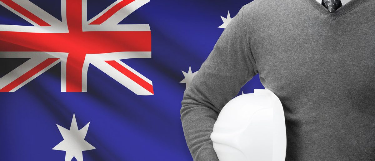 Architect with flag on background - Australia (Shutterstock/Niyazz)