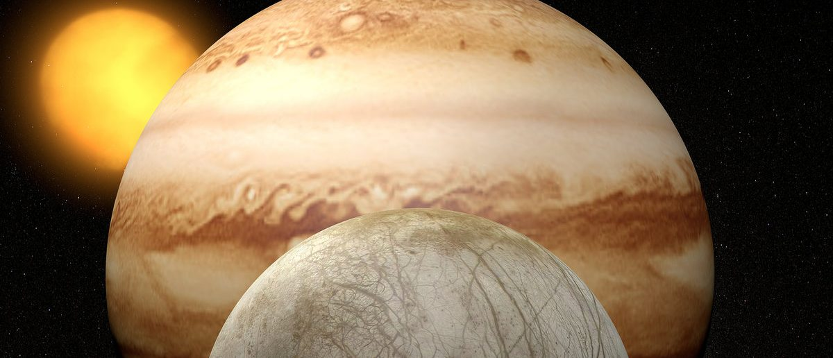 Satellite Europa, Jupiter's moon, space solar system. Element of this image are furnished by NASA (Shutterstock/Naeblys)