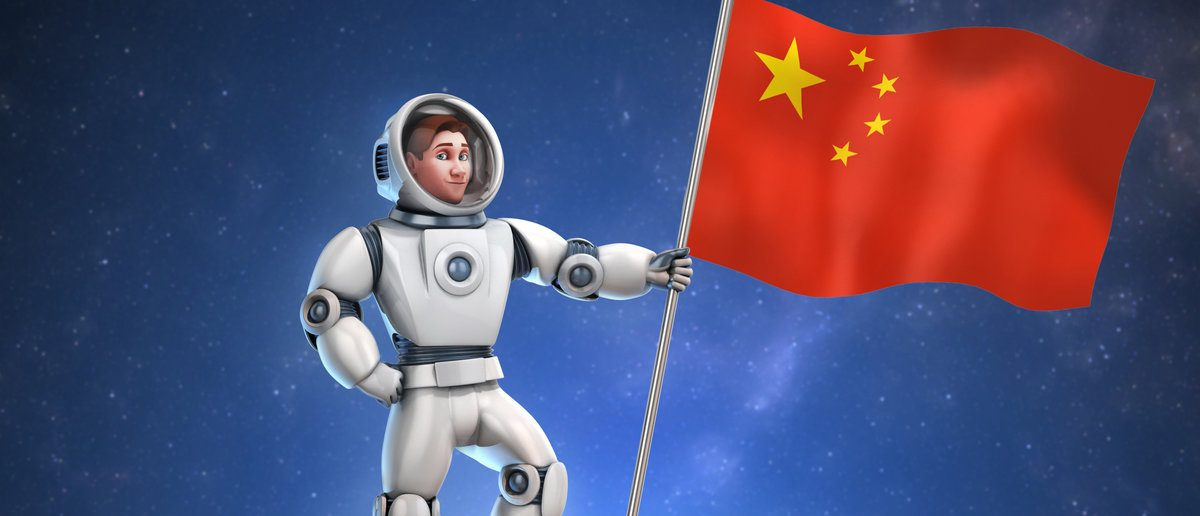 Astronaut on meteor holding the Chinese flag (Shutterstock/koya979)