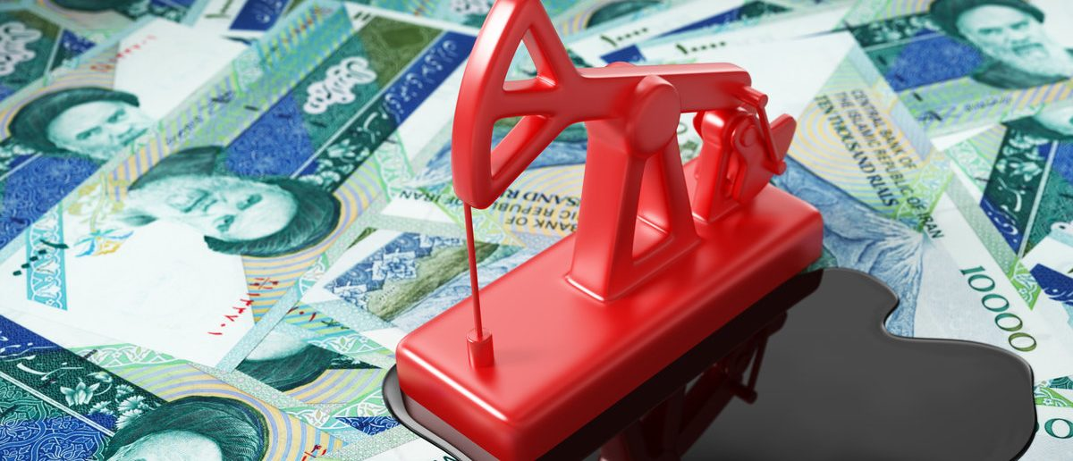 Red Pumpjack And Spilled Oil Over Iranian Money. (Shutterstock/3Dsculptor)