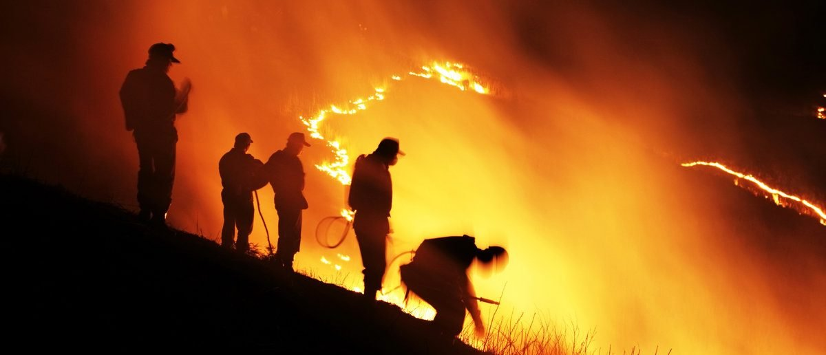 Firefighters battle wildfire with Slash and burn (Shutterstock/akiyoko)