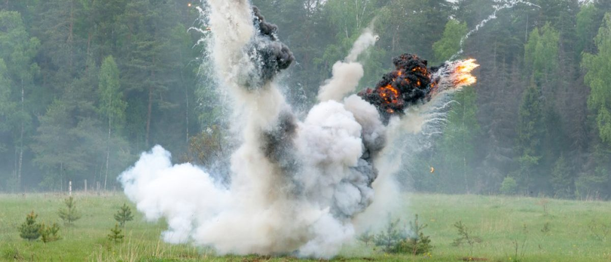Explosion on a military range. [Shutterstock/Mitrofanov Alexander]