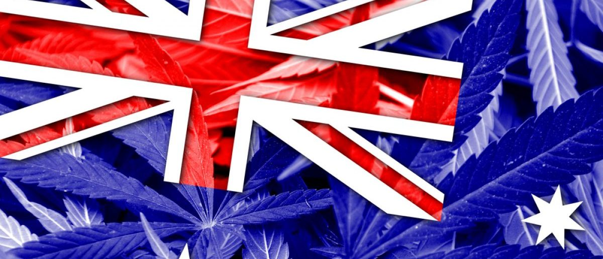 The Australian flag and pot leaves