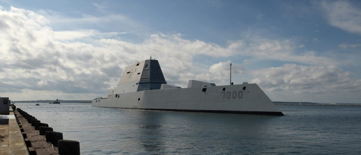 USS Zumwalt ports briefli in Rhode Island before heading to its commissioning ceremony. Photo: U.S. Navy/James E. Foehl