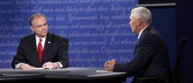Tim Kaine listens as Mike Pence speaks during their debate in Virginia, REUTERS/Rick Wilking