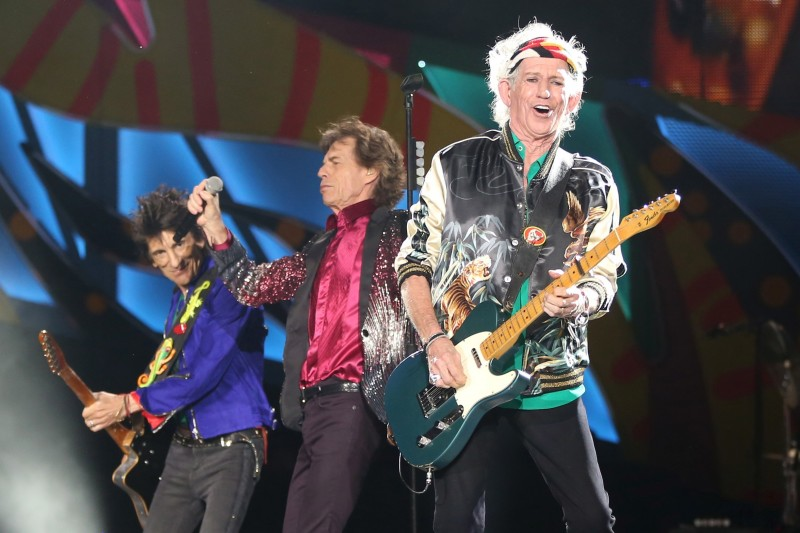 Keith Richards (R), Mick Jagger (C) and Ronnie Wood of the Rolling Stones perform a free outdoor concert at Ciudad Deportiva de la Habana sports complex in Havana, Cuba March 25, 2016. REUTERS/Alexandre Meneghini/File Photo