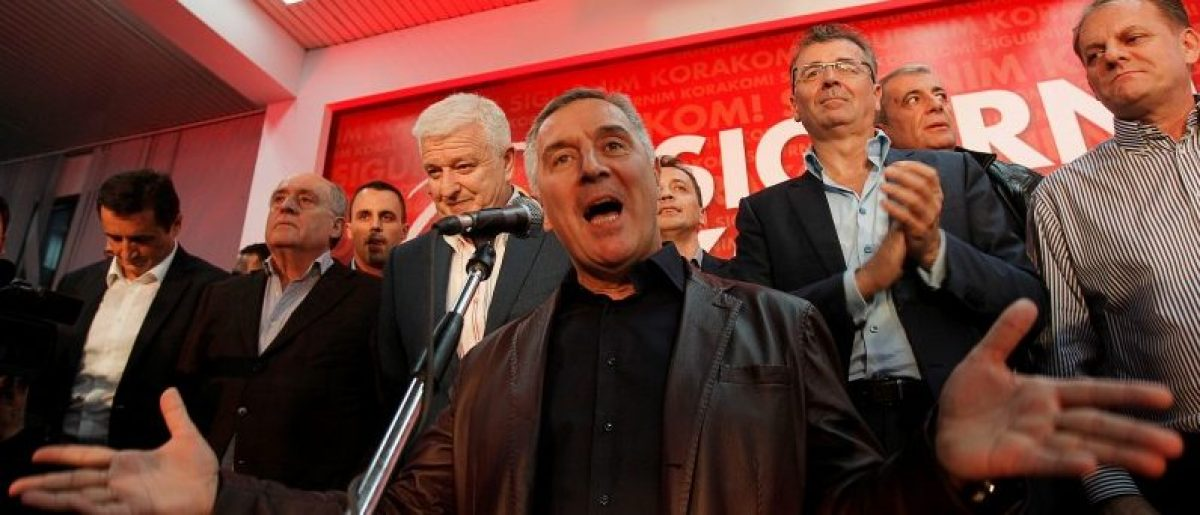 Montenegrin Prime Minister and leader of ruling Democratic Party of Socialist Milo Djukanovic speaks to supporters during celebrations after parliamentary elections in Podgorica, Montenegro, October 17, 2016. REUTERS/Stevo Vasiljevic