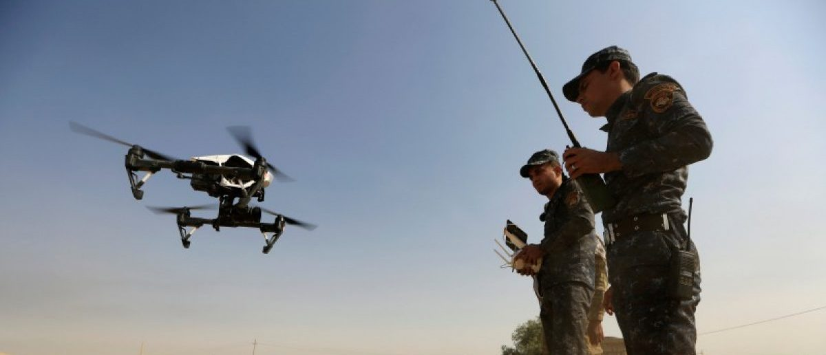 A member of Iraqi forces operates an unmanned drone to make it fly over Islamic State position outside the town of Safayah near Mosul, Iraq October 23, 2016. REUTERS/Zohra Bensemra