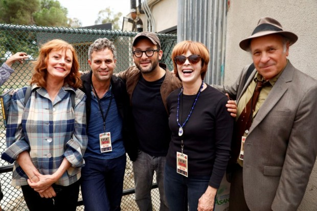 Actors Susan Sarandon, Mark Ruffalo, director Josh Fox, Frances Fisher and author Greg Palast pose for a photograph backstage during a climate change rally in solidarity with protests of the pipeline in North Dakota at MacArthur Park in Los Angeles. REUTERS/Patrick T. Fallon