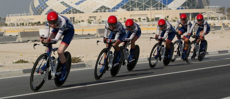 Cyclists from Cervelo Bigla Pro Cycling Team compete in Women's Team Time Trial in the UCI Road World Championships 2016, in Doha, Qatar October 9, 2016. REUTERS/Stringer