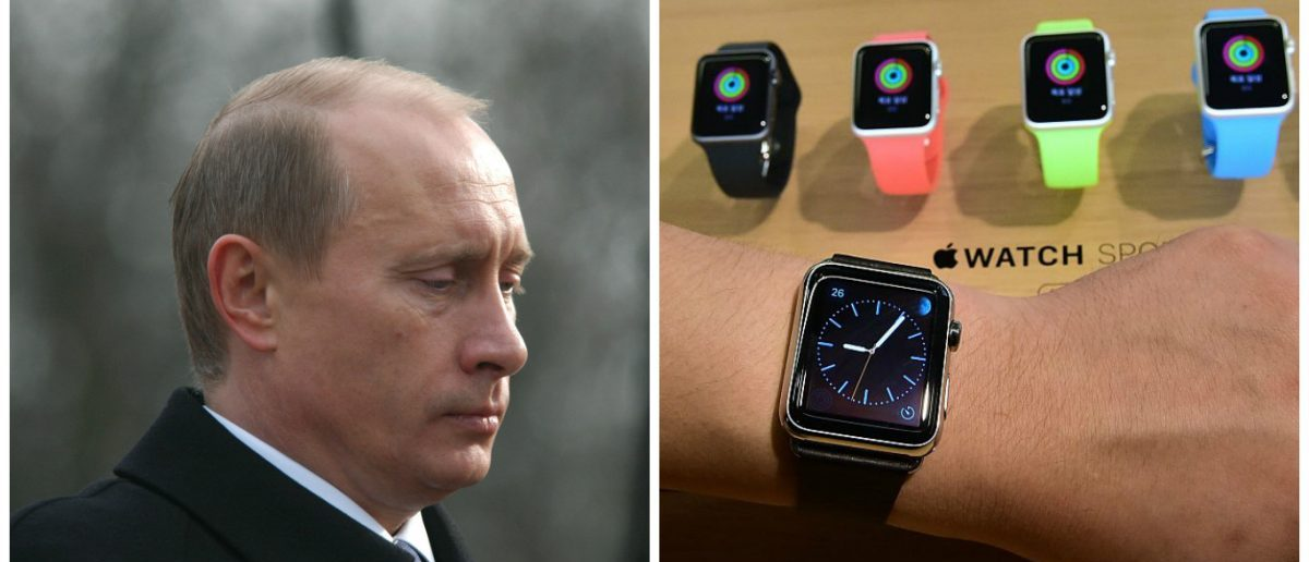 Left: PRAGUE - MARCH 3: Russian Prime Minister Vladimir Putin during his official visit in Prague, Czech Republic, on March 3, 2010 [Shutterstock - Vladimir Wrangel] Right: A South Korean employee shows the 'Apple Watch' at an Apple shop in Seoul on June 26, 2015. [JUNG YEON-JE/AFP/Getty Images]