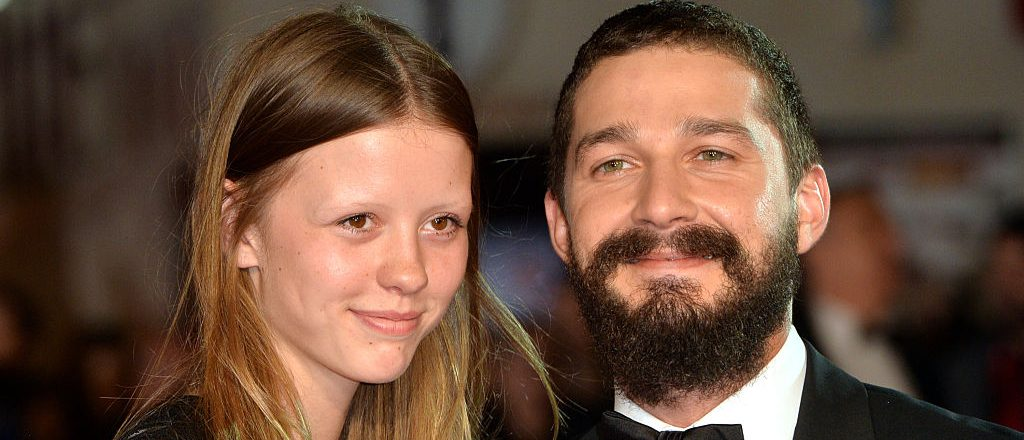 "Mia Goth and Shia LeBeouf attend the closing night European Premiere gala red carpet arrivals for ""Fury"" during the 58th BFI London Film Festival at Odeon Leicester Square on October 19, 2014 in London, England"