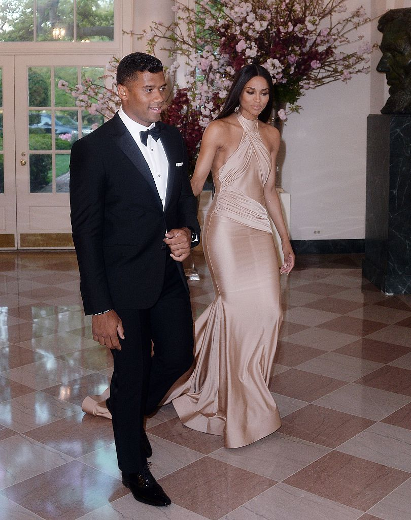 Russell Wilson and Ciara Harris arrive for the State dinner in honor of Japanese Prime Minister Shinzo Abe And Akie Abe at the White House in Washington, DC. (Photo by Olivier Douliery/Getty Images)