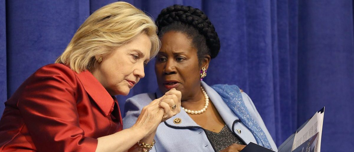 Democratic Presidential candidate Hillary Clinton talks to Rep. Sheila Jackson Lee (D-TX) at the Inaugural Barbara Jordan Gold Medallion Awards at Texas Southern University on June 4, 2015 in Houston, Texas.(Thomas Shea/Getty Images)