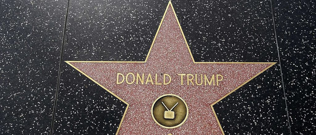 Republican presidential candidate frontrunner Donald Trump's star on the Hollywood Walk of Fame in seen, September 10, 2015 in Hollywood, California. Trump was awarded the star in 2007 in the television category. AFP PHOTO / ROBYN BECK (Photo credit: ROBYN BECK/AFP/Getty Images)