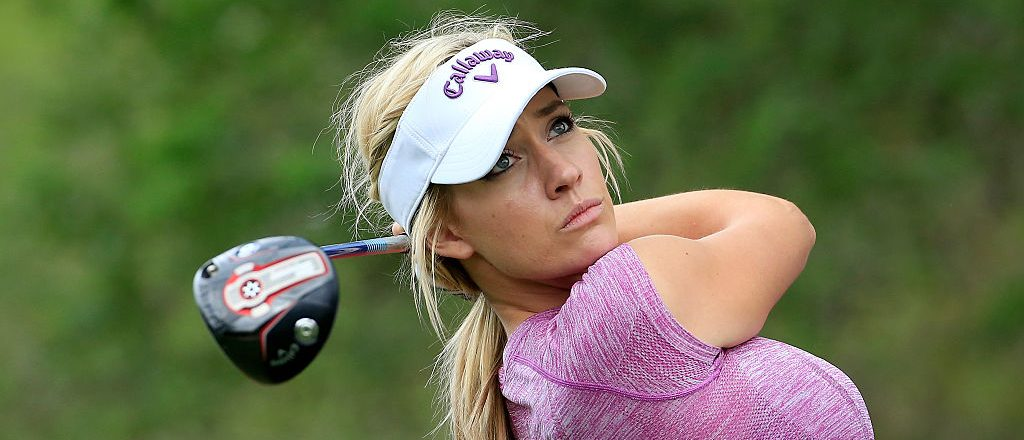 Paige Spiranac of the United States in action during her practice round for the 2015 Omega Dubai Ladies Masters on the Majlis Course at The Emirates Golf Club on December 7, 2015 in Dubai, United Arab Emirates. (Photo by David Cannon/Getty Images)
