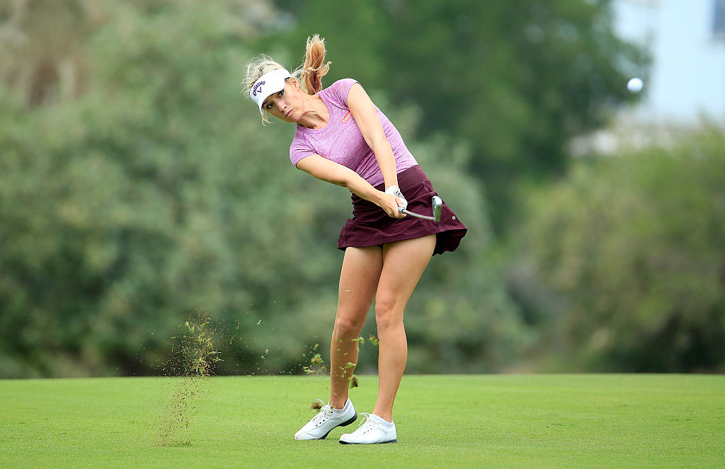 Paige Spiranac with an approach shot from the fairway. (Photo by David Cannon/Getty Images)