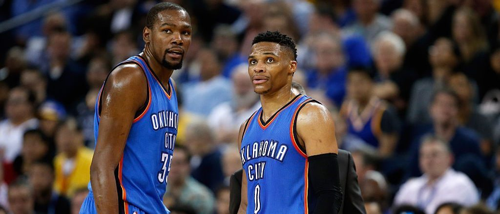 Westbrook and Durant (Photo by Ezra Shaw/Getty Images)