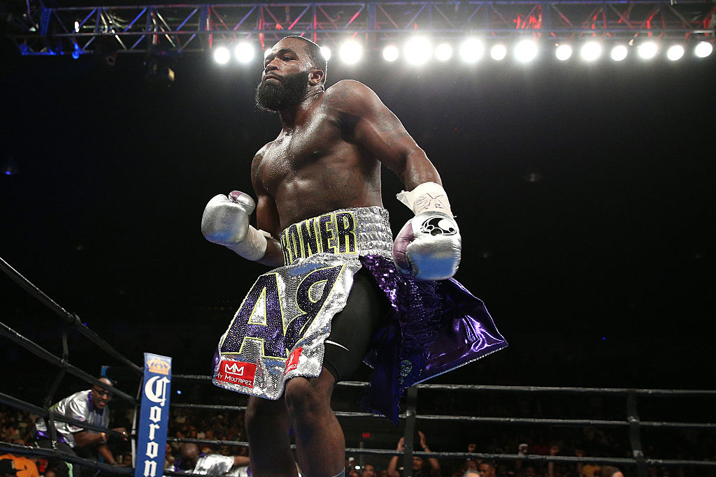Adrien Broner celebrates after defeating Ashley Theophane (not pictured) by TKO in ninth round in the DC Armory on April 1, 2016 in Washington, DC. (Photo by Patrick Smith/Getty Images)
