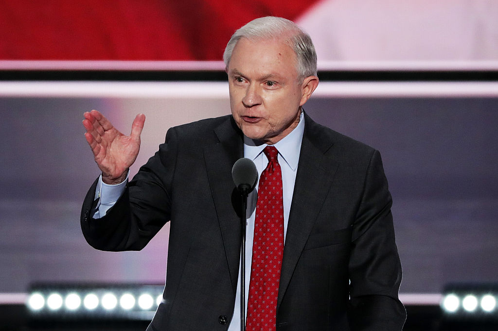 Jeff Sessions speaks on the second day of the Republican National Convention on July 19, 2016 in Cleveland, Ohio (Getty Images)