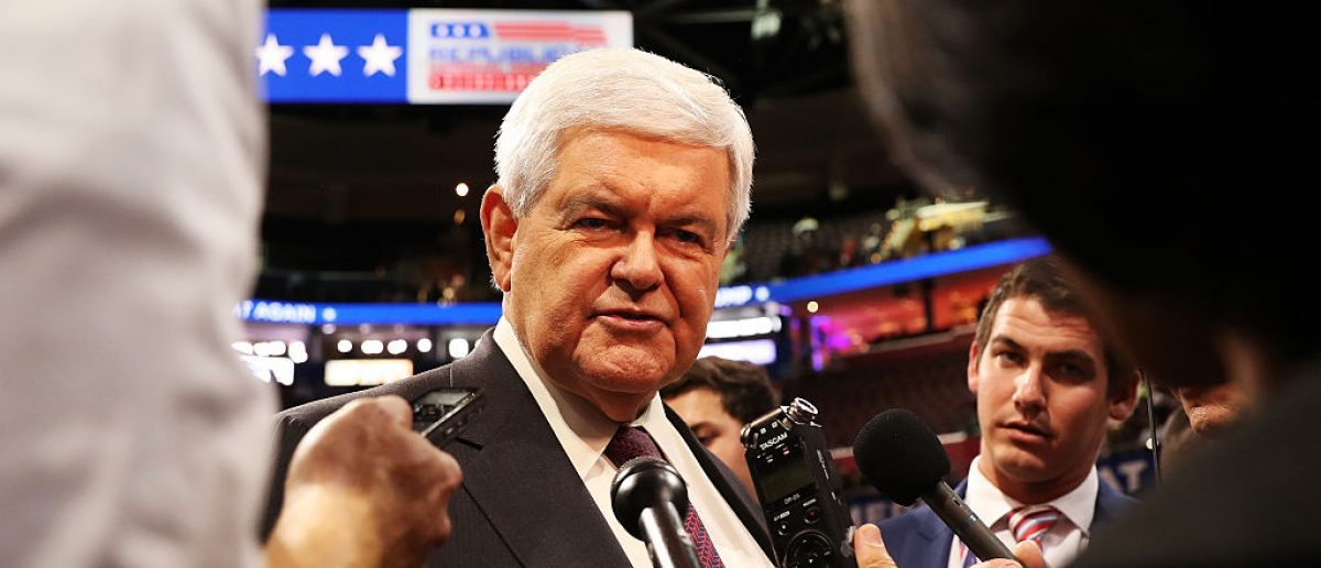 Newt Gingrich speaks with reporters prior to the start of the fourth day of the Republican National Convention on July 21, 2016 (Getty Images)