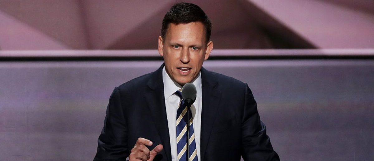 CLEVELAND, OH - JULY 21: Peter Thiel, co-founder of PayPal, delivers a speech during the evening session on the fourth day of the Republican National Convention (Photo by Alex Wong/Getty Images)