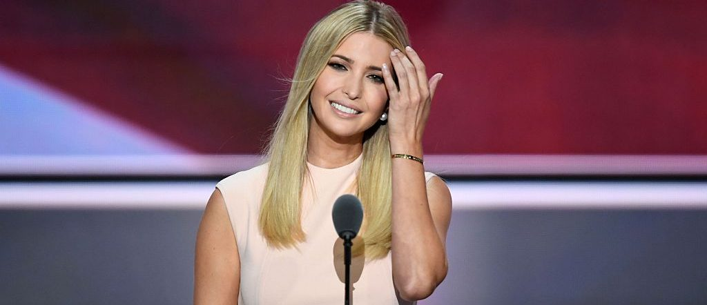 Ivanka Trump, the daughter of Republican presidential candidate Donald Trump, smiles before delivering a speech on the final night of the Republican National Convention at the Quicken Loans Arena in Cleveland, Ohio on July 21, 2016. (JIM WATSON/AFP/Getty Images)